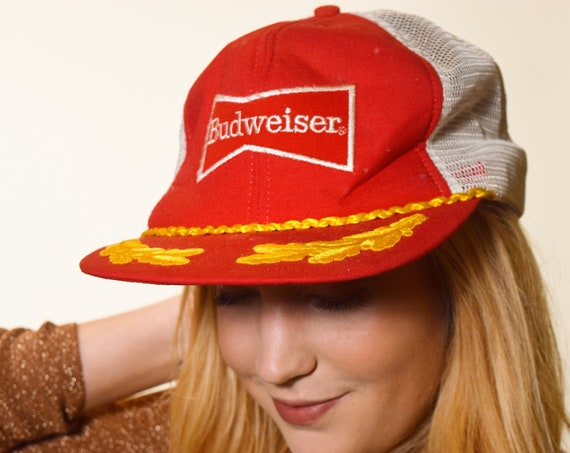 1970s/1980s authentic vintage Budweiser beer classic embroidered trucker hat