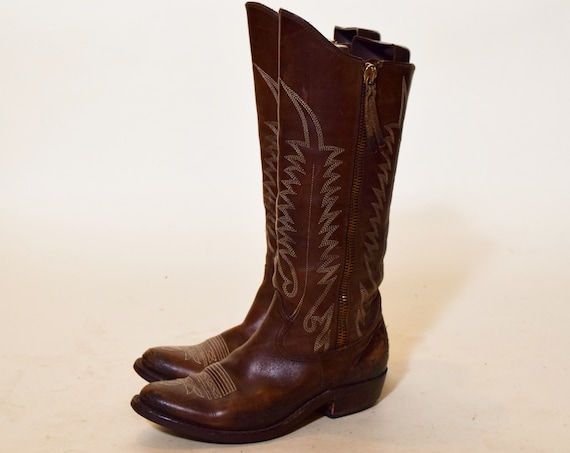 """Authentic vintage rare dark brown leather Original Golden boot brand cowboy boots with 1.5"""" wooden heel women's US size 8"""