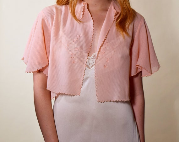 Vintage 1930s RARE peach pink silk short sleeve butterfly sleeve bed jacket women's size S-M
