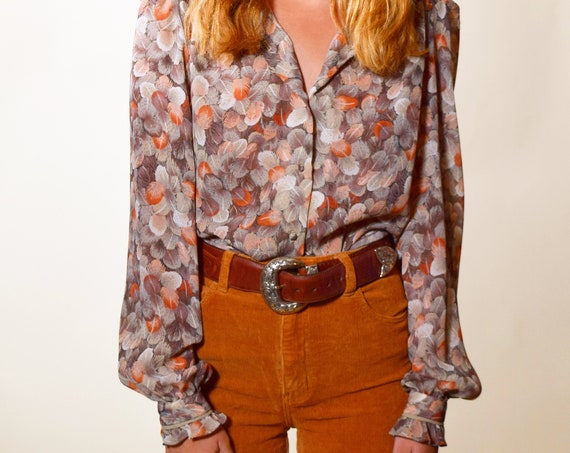 1970s vintage button down earth tone polyester high collared blouse women's size small-medium