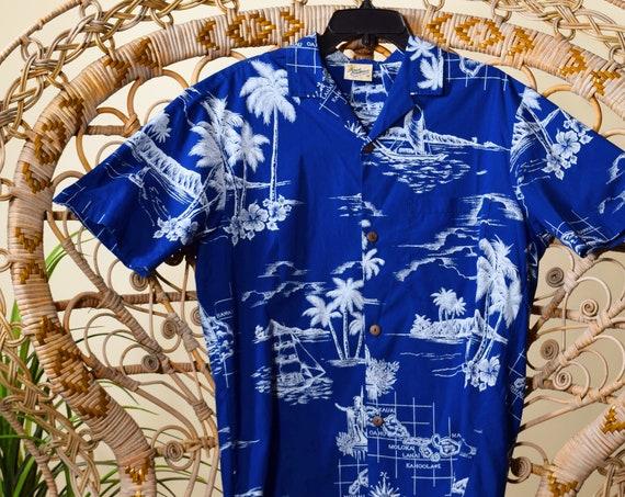 Authentic vintage royal blue Hawaiian floral patterned classic button down short sleeve shirt men's medium
