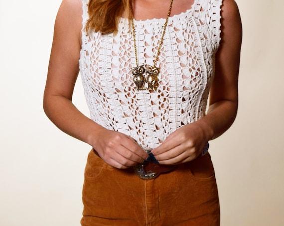 Authentic Vintage hippie handmade crochet white tank top women's size small