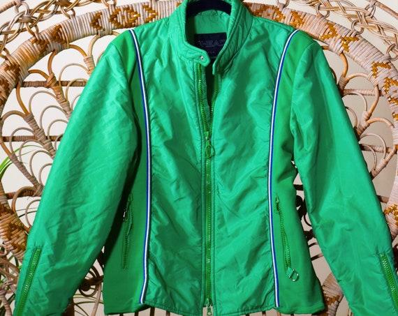 1980s authentic vintage green ski puffer zip up jacket women's size medium-large