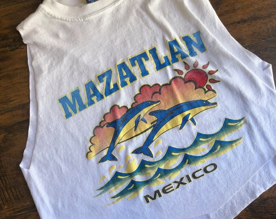 Vintage Mazatlan Mexico distressed cropped tank top women's size medium m
