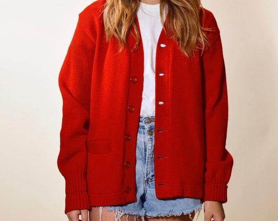 1950's authentic vintage classic red burgundy letterman cardigan sweater size Medium