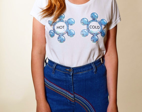 """1976 """" HOT AND COLD"""" snarky knob boobs authentic iron on transfer on retro inspired pre-shrunk 100% cotton white tee women's size Medium"""