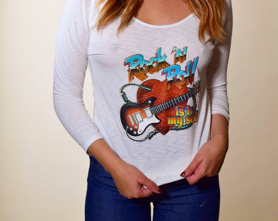 1970s authentic vintage Rock N Roll is in my Soul glitter iron on 3/4 length thin graphic tee shirt women's size small