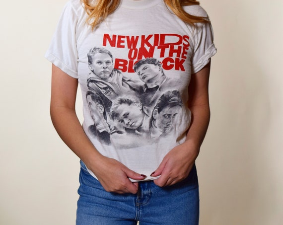 Rare 1980s authentic vintage New Kids on the Block graphic tee shirt women's size small