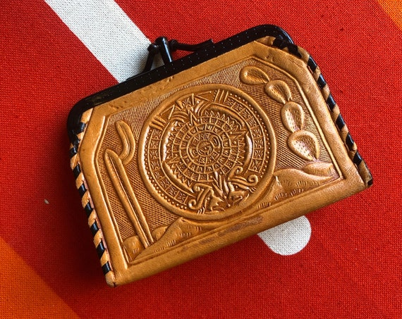1970s RARE Mexico authentic vintage leather tooled small coin purse