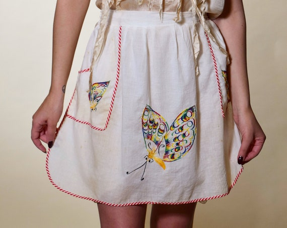 1940s-1950s authentic vintage embroidered butterfly mini skirt swing apron