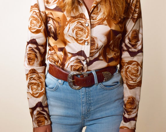 1970s vintage polyester groovy brown rose floral disco snap down collared blouse women's size Small-Medium