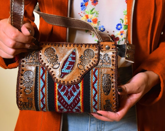 Authentic vintage hand tooled leather + tapestry South American souvenir style small purse