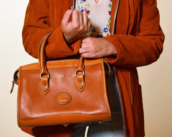 Authentic Vintage Dooney & Burke all weather solid brown leather top handle classic handbag