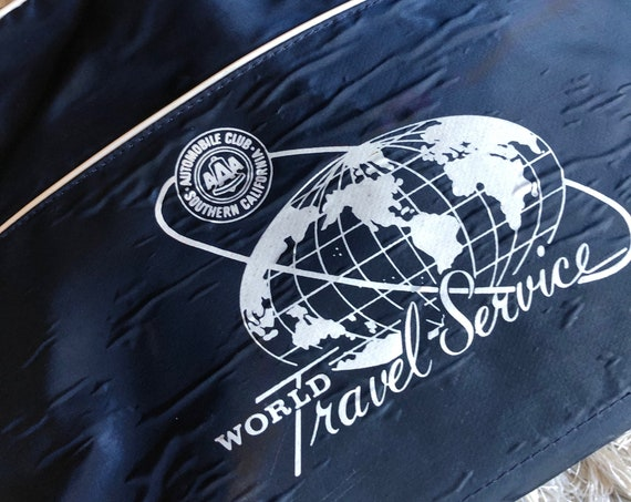Authentic vintage AAA world travel airlines getaway vacation travel zip up tote bag/overnight bag/carry-on bag