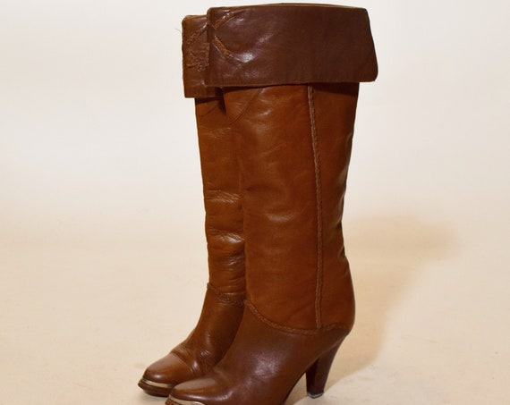 """Authentic vintage Zodiac brand soft brown leather tall boots with 3.5"""" heel women's US size 6"""