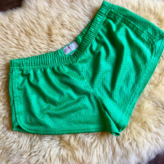 1980s authentic vintage green nylon running athletic gym soffe short shorts size Small - medium