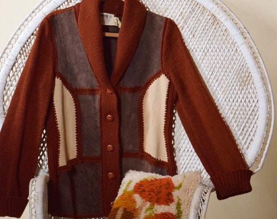 1970s hippie suede patchwork sweater rust cardigan unisex size medium