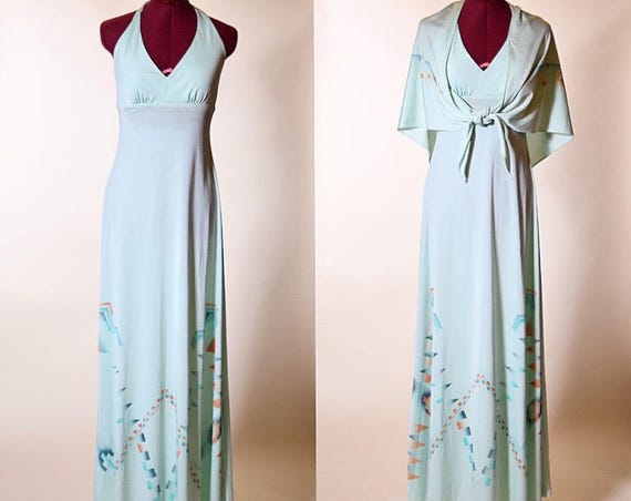 Vintage 1970's disco halter aqua light blue maxi dress with matching wrap nylon/polyester blend women's size Small-medium