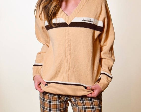 1970'S Authentic vintage Arnold Palmer pullover oversized v neck with beige and brown stripes size S/M