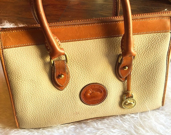 Dooney & Burke 1980's authentic vintage tan and taupe two tone leather top handle carrier satchel bag