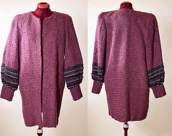 Vintage 1970's classic feminine mohair coat with satin lining by MJ Seattle women's size Small