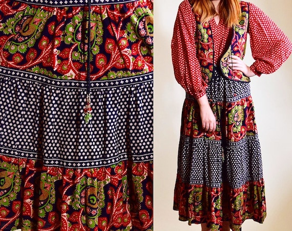 Vintage 1970's bohemian hippie festival Neeta of San Francisco peasant maxi skirt floral paisley with string waist women's size medium large