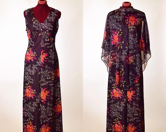 Vintage 1960's/70's floral colorful hippie maxi dress with matching sheer poncho women's size medium/large