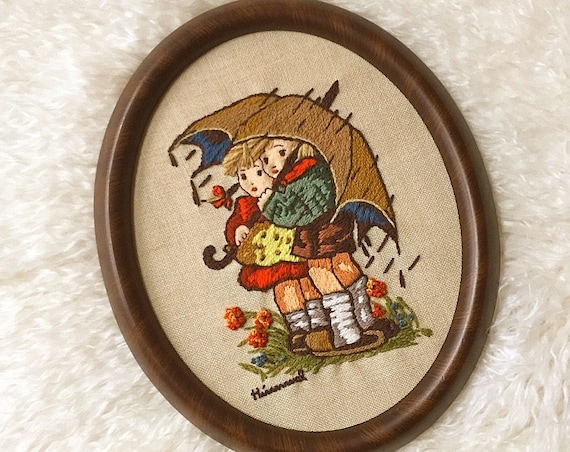 1970's authenic vintage wooden framed Hummel needlepoint hand crewel embroidered one of a kind hippie boho wall decorative  picture