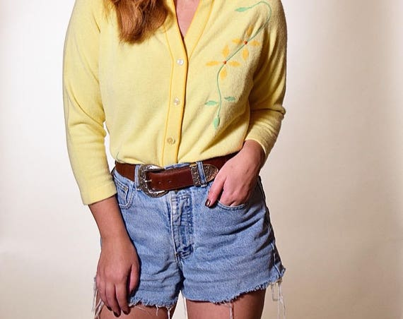 1950's vintage/ rockabilly/ soft button down yellow cardigan with needlepoint floral design rockabilly preppy women's size small/medium