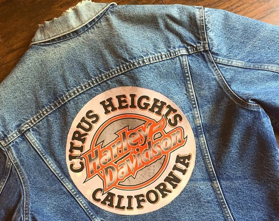 Harley Davidson Vintage 80's Distressed Levi's lined denim jacket upcycled with 1987 Citrus Heights California  / XL
