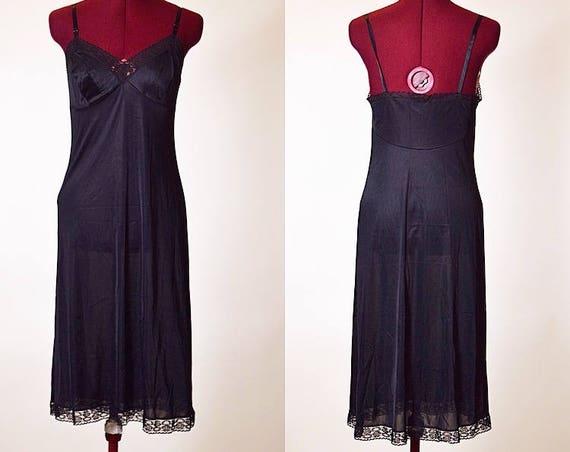 Vintage black nylon and lace midi length Vanity Fair slip dress women's size small
