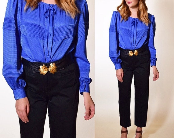 1980's authentic vintage Halston III polyester blue pleated covered button down women's size SM/M
