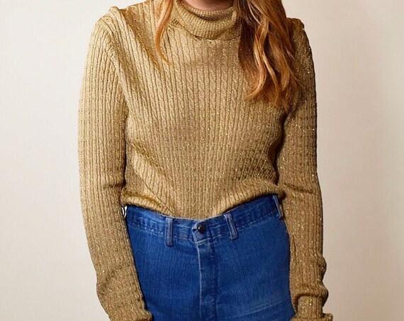 Vintage metallic gold preppy long sleeve pullover turtleneck women's size medium