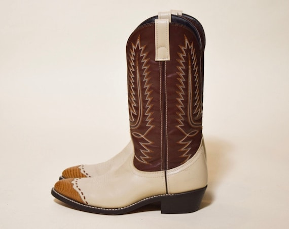 Vintage two tone brown faux leather Cowboy boots men's US size 9.5 man made material