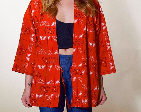 1970s vintage red + black butterfly pattern kimono / wrap smock top with bell sleeve women's size medium-large