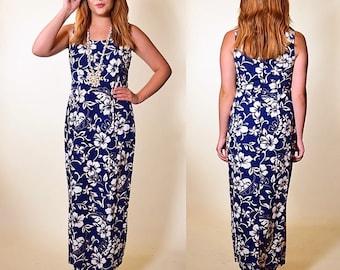 99f328deb063 Authentic vintage Hilo Hattie floral Hawaiian tropical short sleeve maxi  dress women's size small