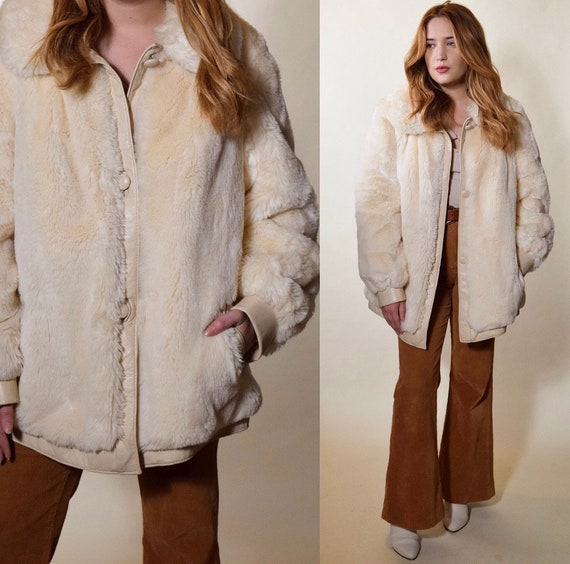 1970s vintage off white Rock N Roll faux fur coat with off white leather trim women's size large