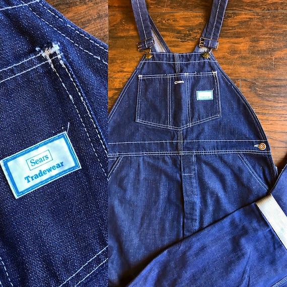 Authentic vintage RARE dark blue wash denim Sears Tradewaear brand men's overalls