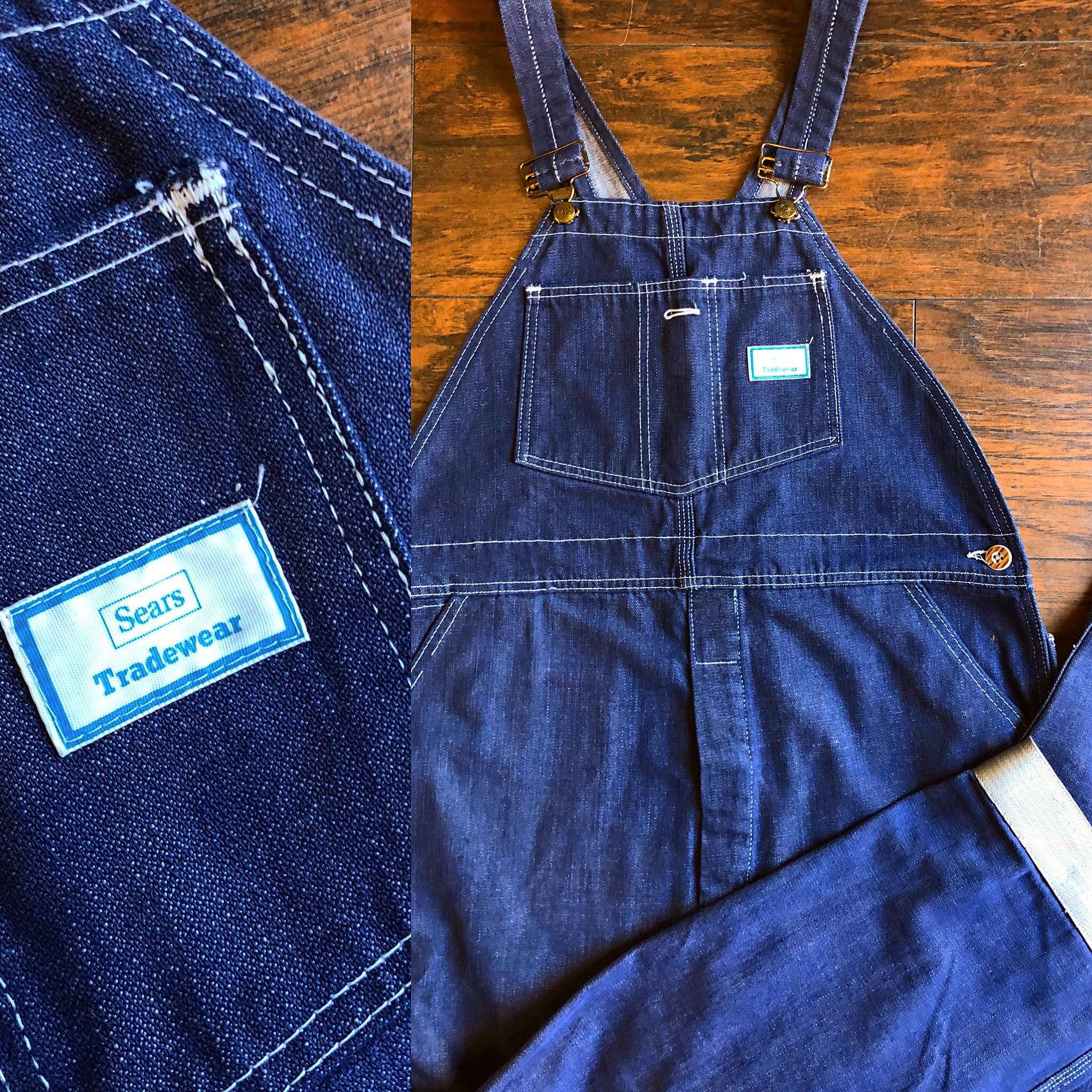 Vintage Overalls & Jumpsuits Authentic Vintage Rare Dark Blue Wash Denim Sears Tradewaear Brand Mens Overalls $0.00 AT vintagedancer.com