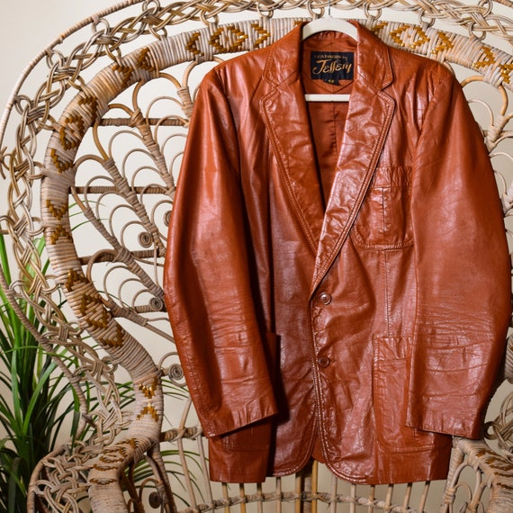 1970s classic vintage men's  brown leather leisure
