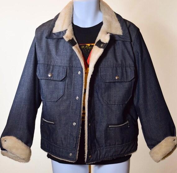 1970s authentic vintage classic denim jacket with faux fur lining + collar unisex M-L