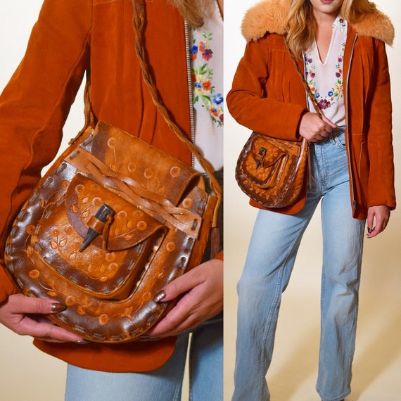 Authentic vintage 1970's hand tooled brown leather one of a kind hippie bohemian purse / handbag