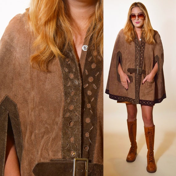 1960s Rare vintage two tone suede leather snap up belted bohemian hippie cape women's ONE SIZE
