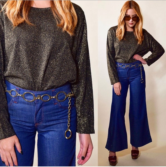 1980's vintage disco era metallic / acrylic long sleeve party cropped blouse women's size medium