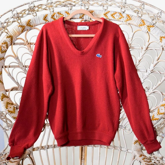 Authentic vintage IZOD LACOSTE V neck maroon red long sleeve oversized pullover sweater unisex Size medium