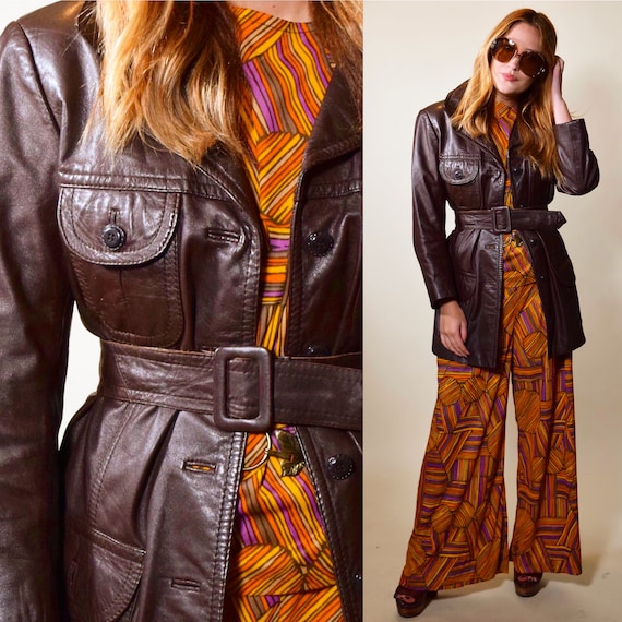1970s dark brown leather button down trench coat with matching belt women's size small-medium