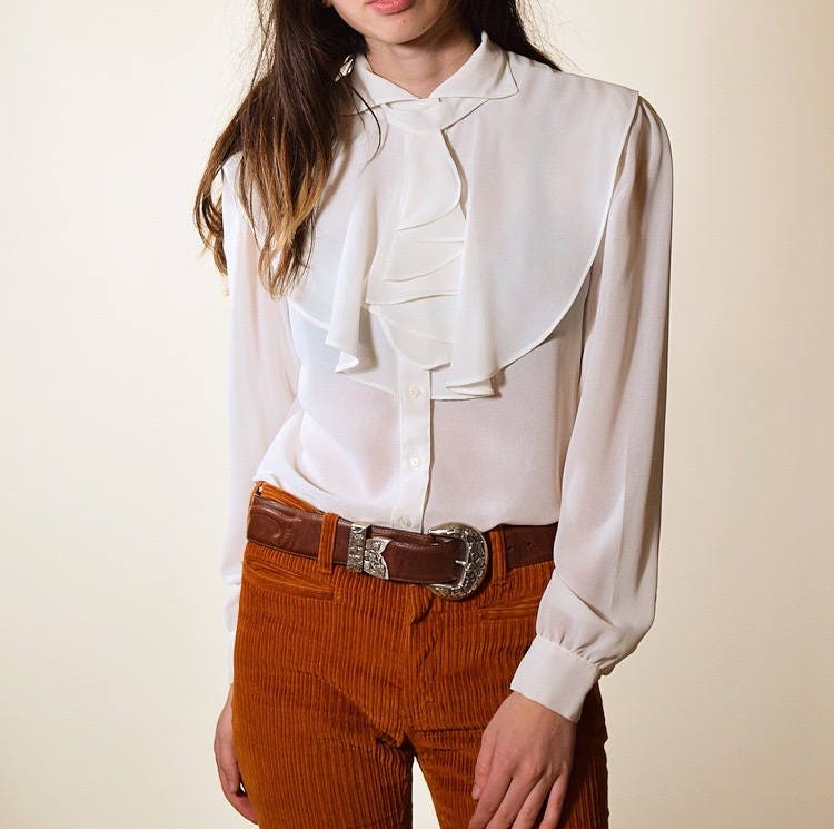 8308ef73 1970's authentic vintage sheer white ruffle button down preppy blouse ...