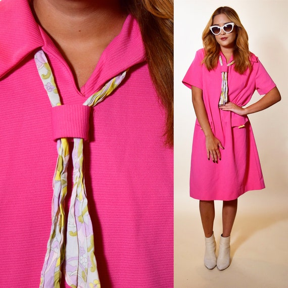 1960s authentic vintage hot pink wide collar + ascot shirtdress women's size M-L