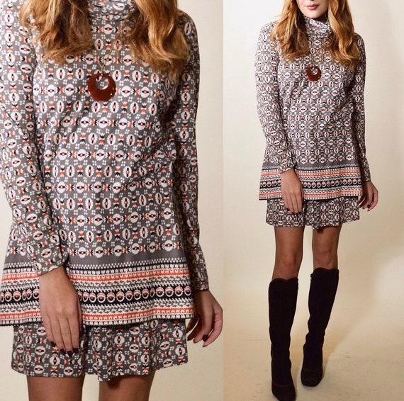 1970s geo print two piece turtleneck + skirt bohemian set women's size small