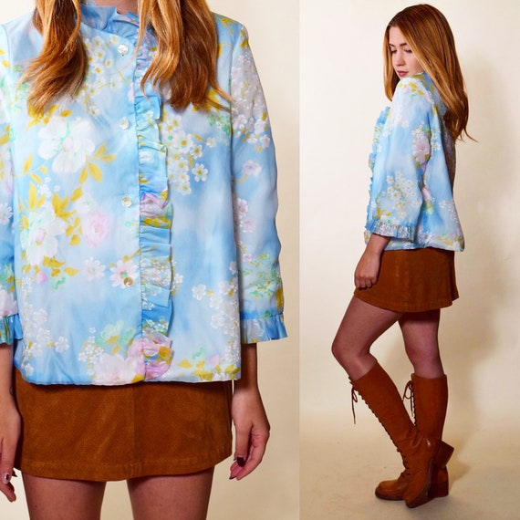 1960s authentic vintage watercolor floral button down ruffle bed jacket women's size small -medium